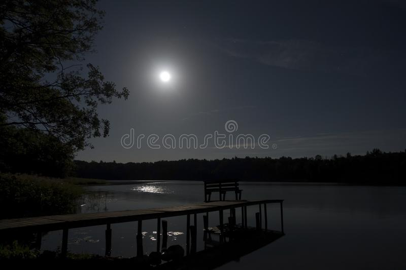 Lua do tolo no lago da floresta com ponte fotos de stock royalty free