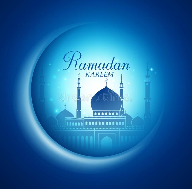 Lua do vetor e relâmpago da mesquita no fundo escuro com Ramadan Kareem ilustração stock