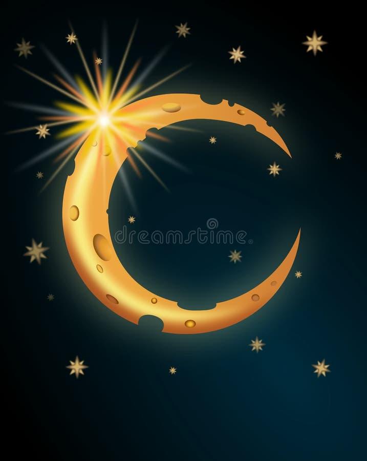 Lua dos desenhos animados com estrelas ilustração do vetor