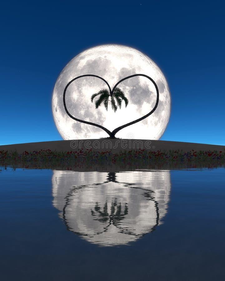 Lua e coração ilustração do vetor