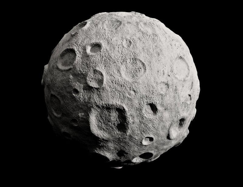 Lua e crateras. Asteróide. foto de stock