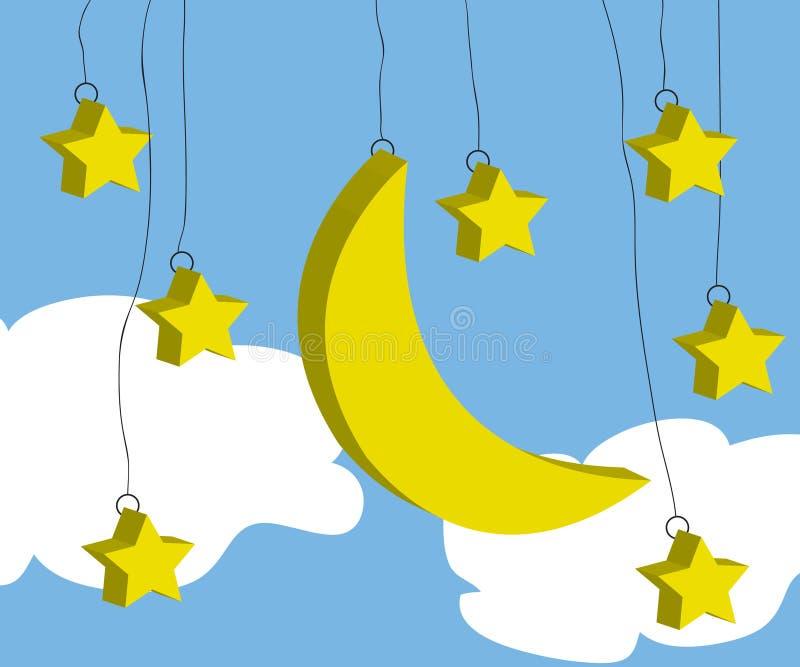 Lua e estrela ilustração royalty free