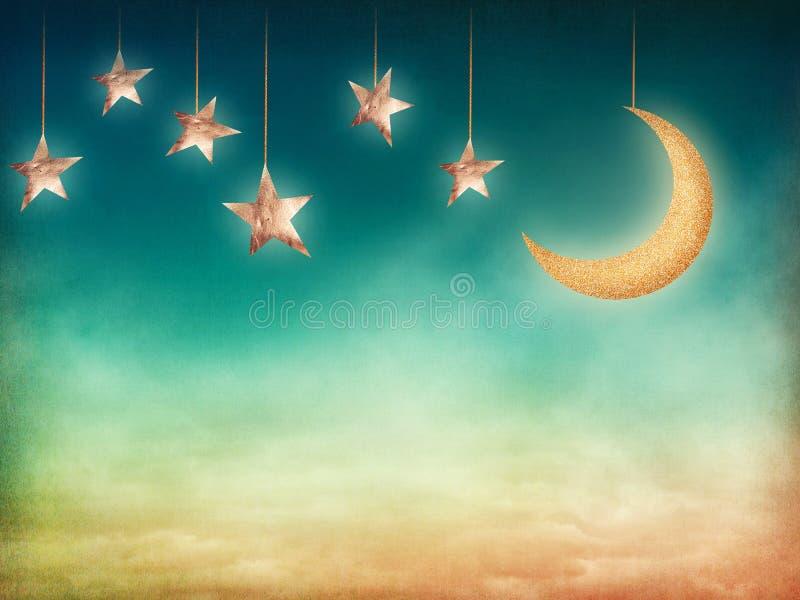 Lua e estrelas fotografia de stock