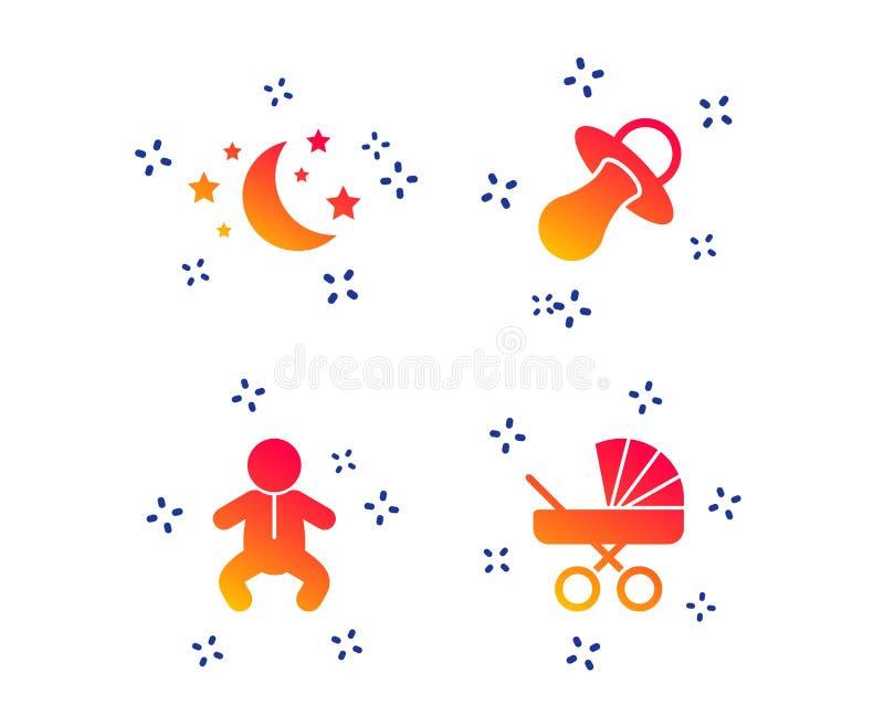 Lua e estrelas ?cone do infante do beb? Carrinho, manequim Vetor ilustração do vetor