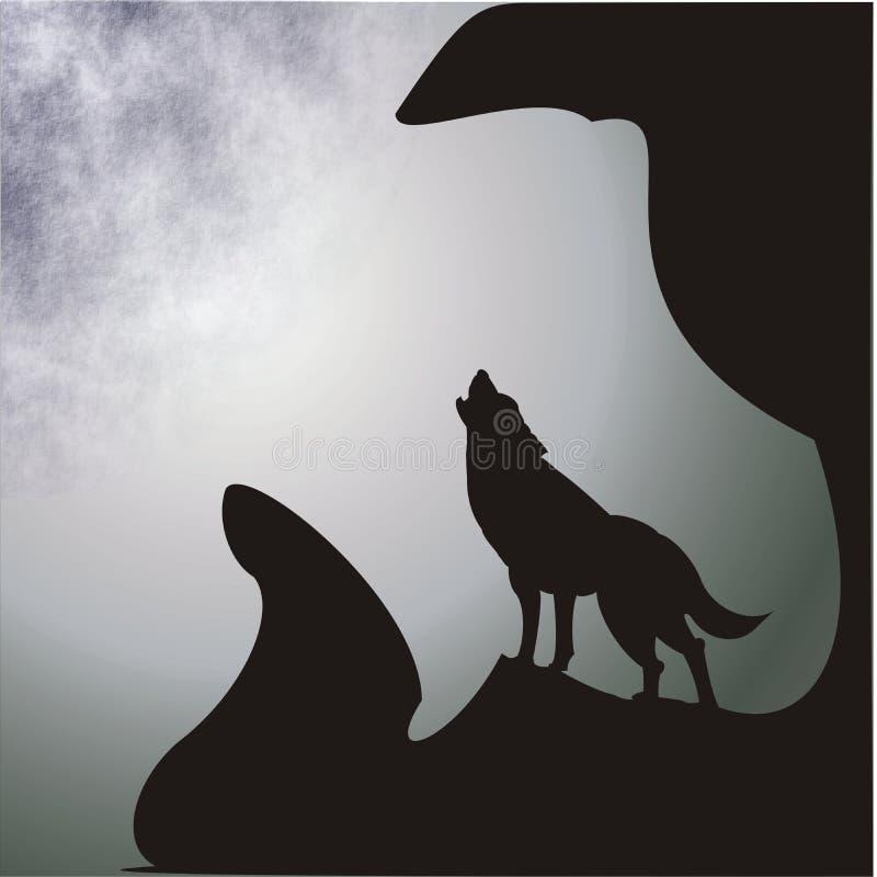 Lua e lobo ilustração stock