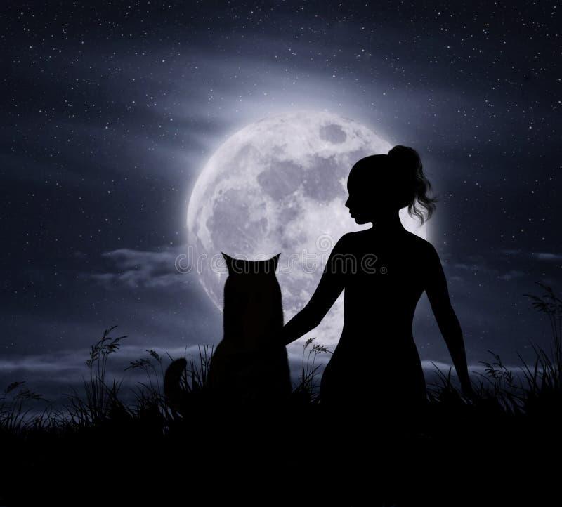 Lua e menina com bw do gato imagens de stock royalty free