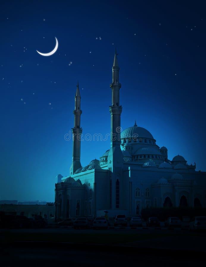 Lua e mesquita imagem de stock