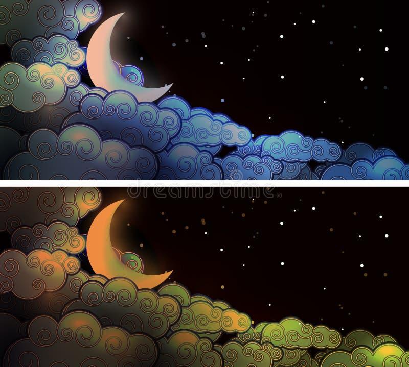 Lua e nuvens ilustração stock