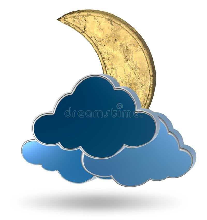 Lua e nuvens do ouro ilustração royalty free