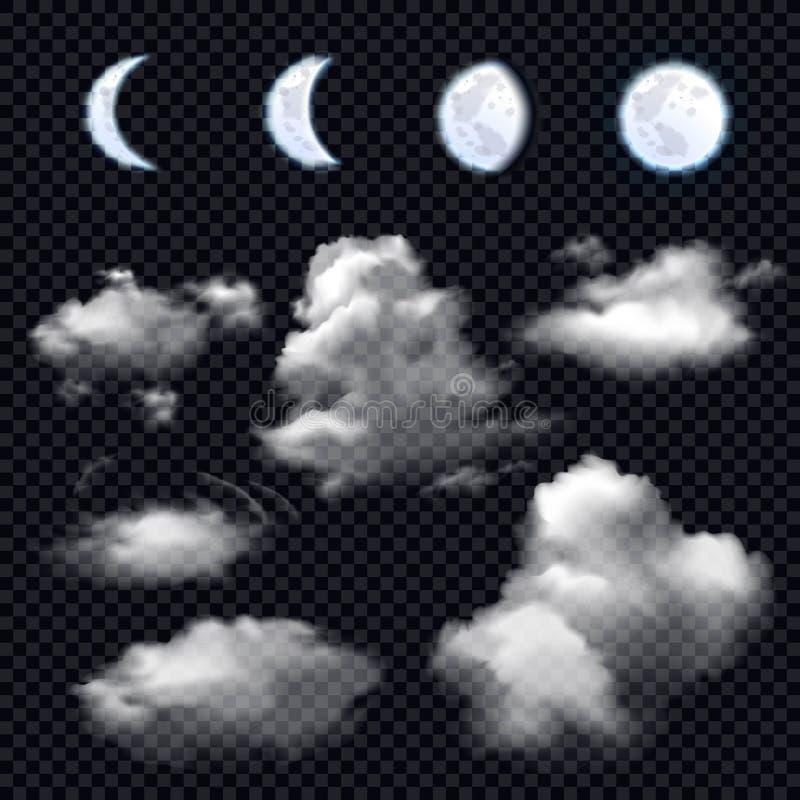 Lua e nuvens no fundo transparente ilustração royalty free