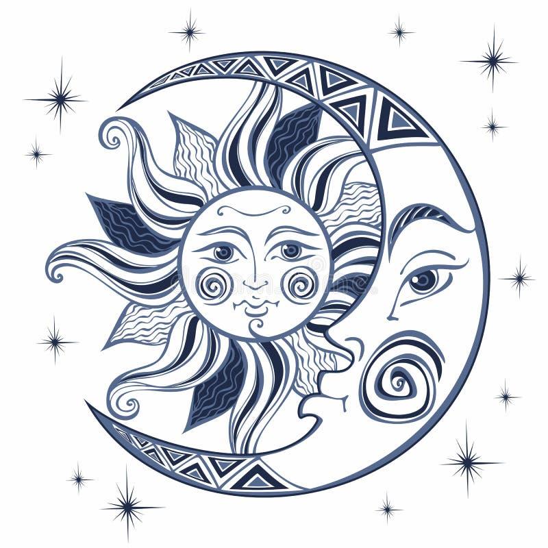 A lua e o Sun Símbolo astrológico antigo engraving Estilo de Boho étnico O símbolo do zodíaco mystical Vetor ilustração royalty free