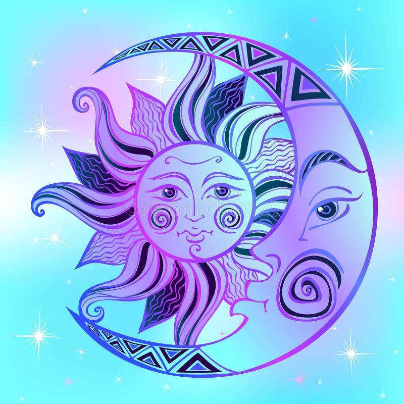 A lua e o Sun S?mbolo astrol?gico antigo engraving Estilo de Boho ?tnico O s?mbolo do zod?aco mystical Vetor ilustração stock