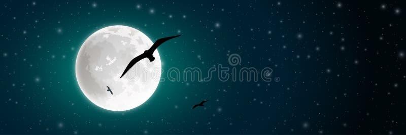 Lua e pássaro ilustração stock