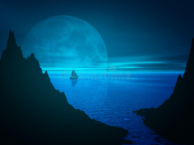 Lua e reflexão na água de mar ilustração stock