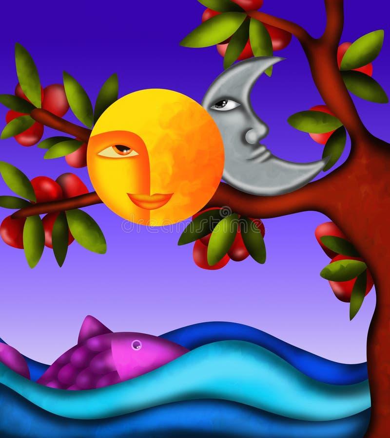 Lua e sol ilustração royalty free