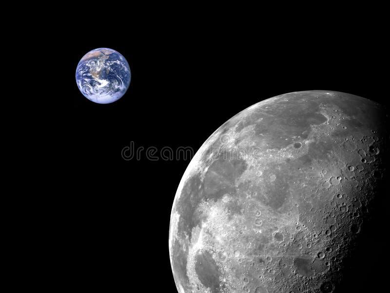 Lua e terra fotos de stock
