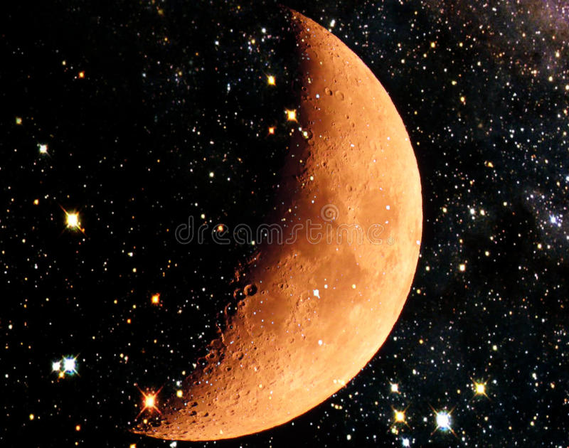Lua e um céu estrelado fotografia de stock