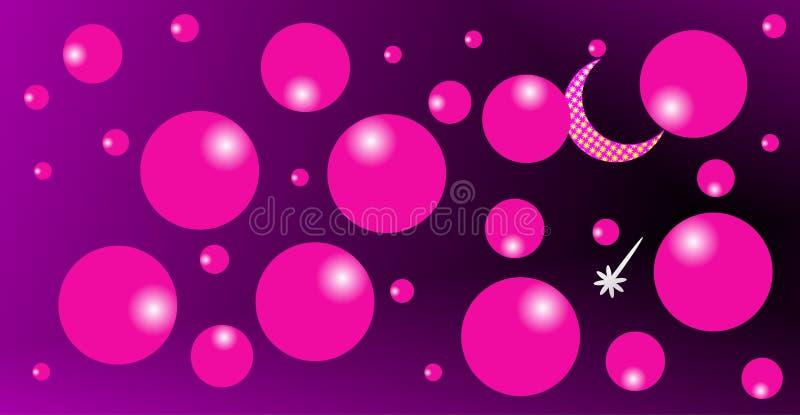 Lua em nuvens cor-de-rosa, uma estrela brilhante, lua de brilho com fundo roxo imagens de stock