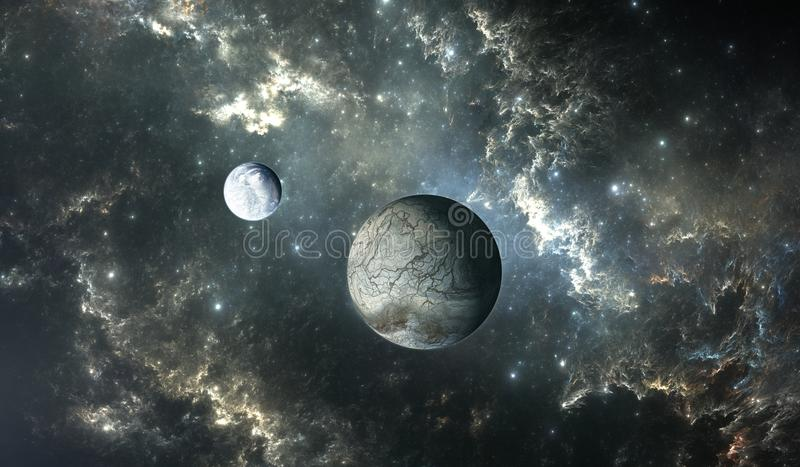 Lua gelada do planeta extrasolar com as estrelas no fundo da nebulosa ilustração do vetor