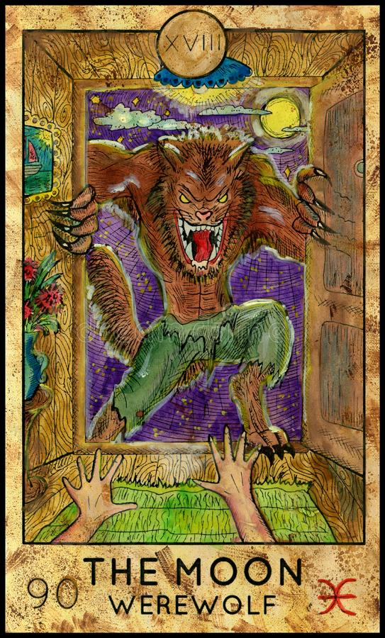 Lua homem-lobo ilustração stock