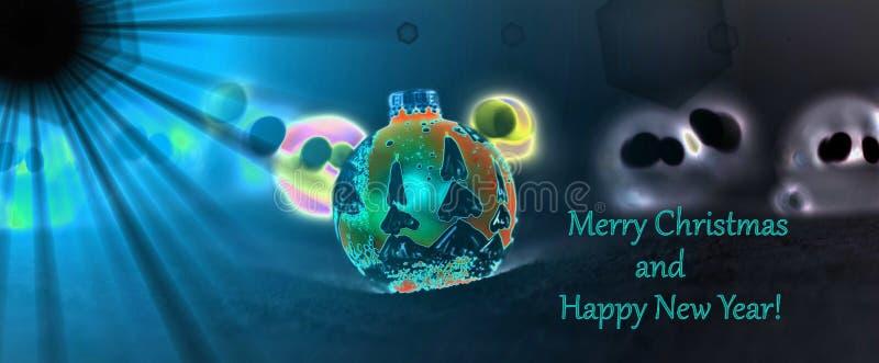 A lua ilumina decorações do Natal na noite ilustração royalty free