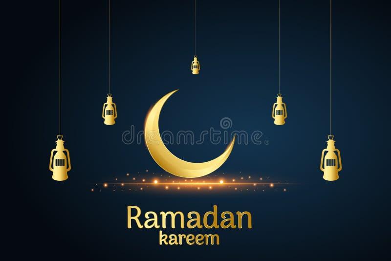 Lua islâmica dourada e lâmpadas de suspensão, kareem de ramadan escrito com fundo preto, vetor ilustração royalty free
