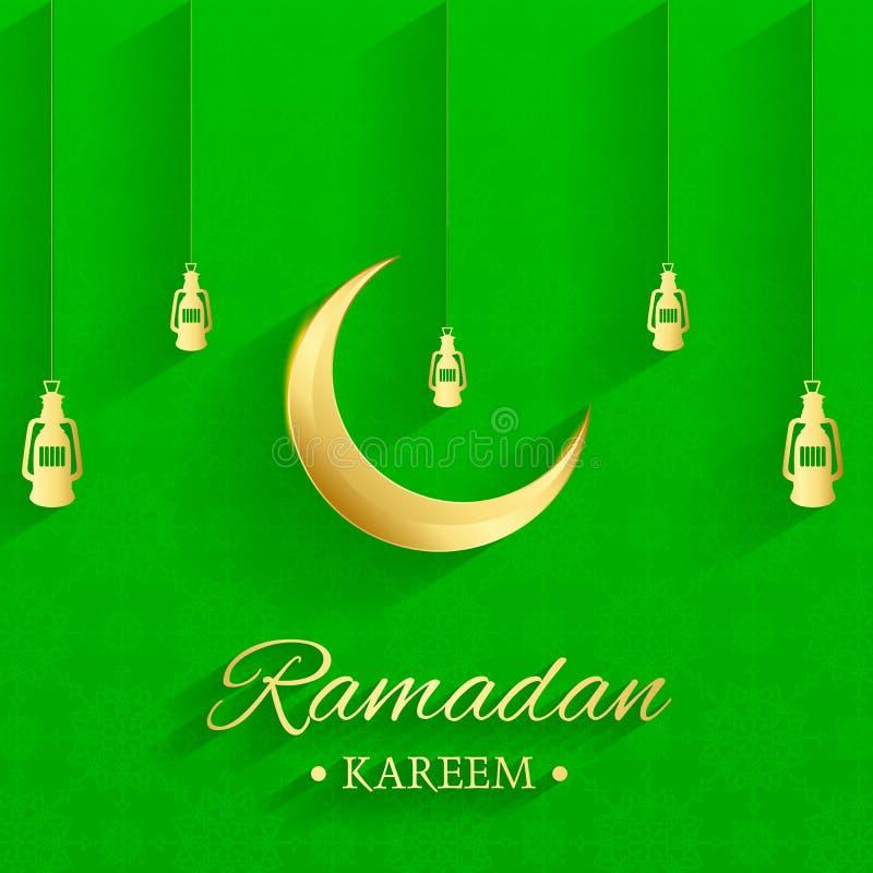 Lua islâmica dourada e lâmpadas de suspensão, kareem de ramadan escrito com fundo verde, teste padrão islâmico, vetor ilustração royalty free