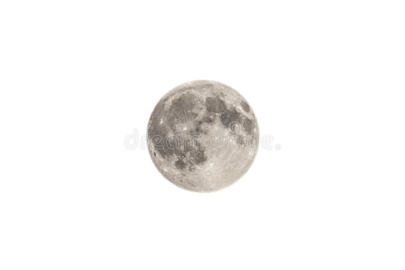 A lua isolada no branco fotografia de stock royalty free