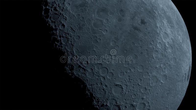 A lua na escuridão no deserto do Negev de Israel ilustração do vetor