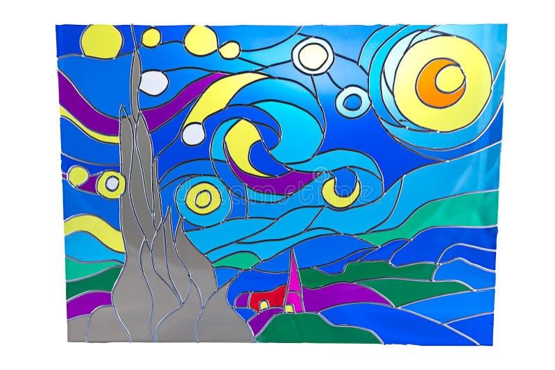 Lua na noite - vitral ilustração royalty free