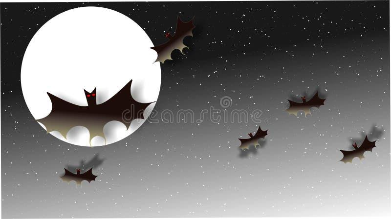 Lua no céu, estrelas, com os bastões pretos com olhos vermelhos imagem de stock royalty free