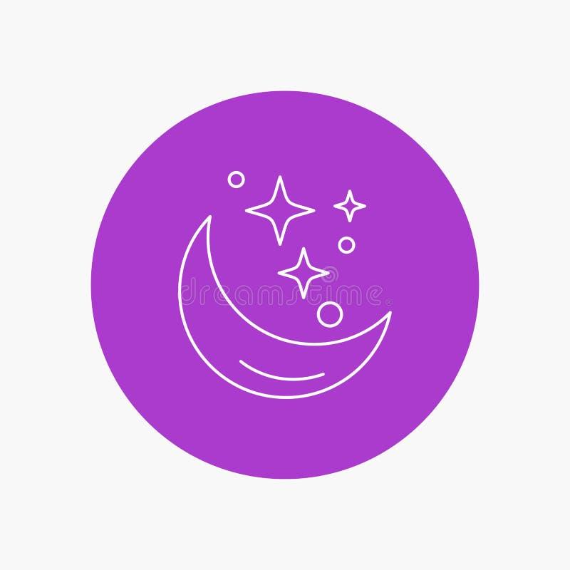 Lua, noite, estrela, tempo, linha branca ícone do espaço no fundo do círculo Ilustra??o do ?cone do vetor ilustração royalty free