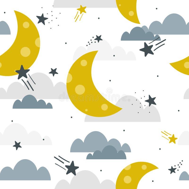 Lua, nuvens e estrelas, teste padrão sem emenda colorido Fundo decorativo, céu ilustração stock