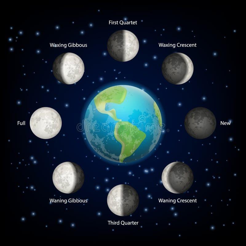 A lua põe em fase a ilustração realística do vetor ilustração stock