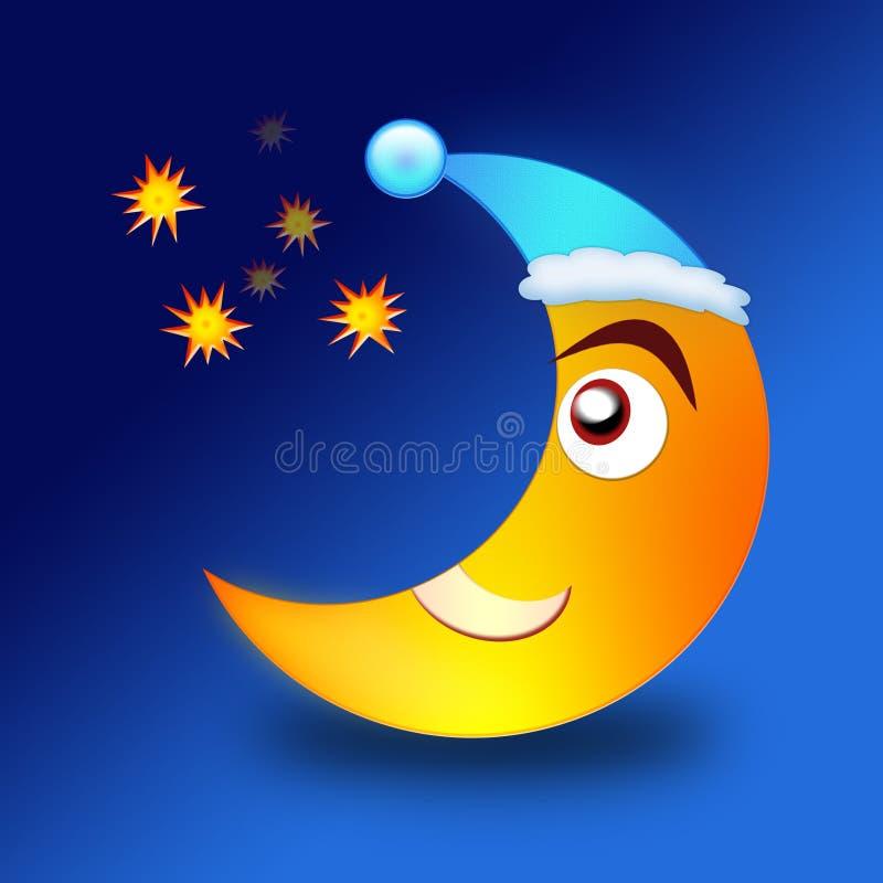 Lua que olha estrelas ilustração stock