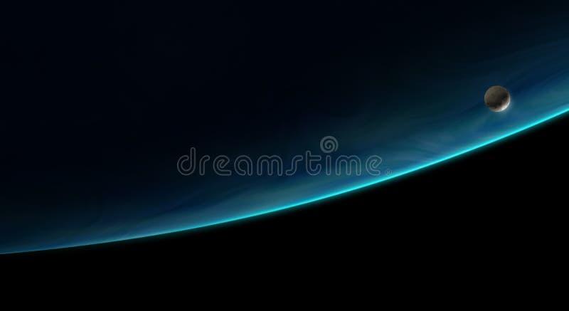 Lua que orbita um planeta azul ilustração royalty free