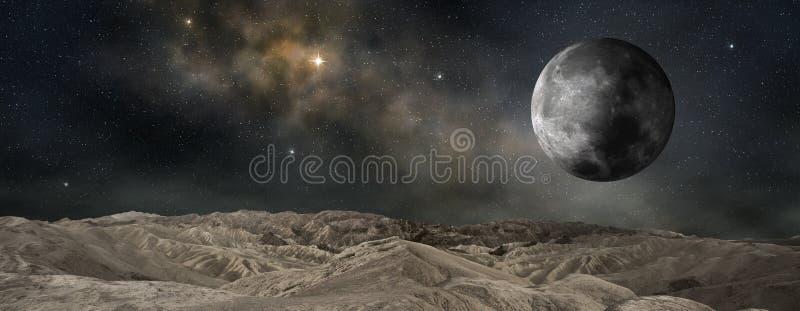 Lua que orbita um planeta exterior ilustração do vetor