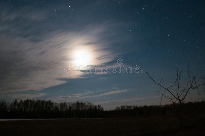 Lua sob estrelas da noite da estrada imagem de stock royalty free