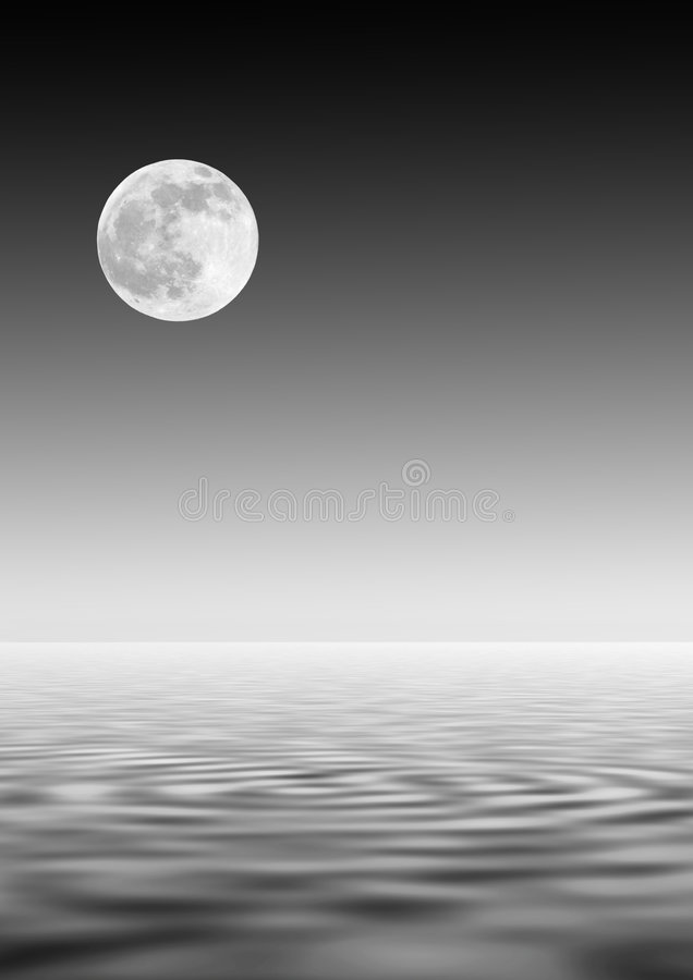 Lua sobre a água ilustração royalty free