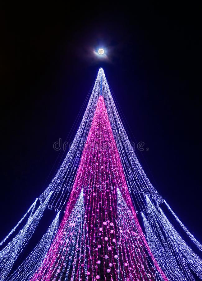 A lua super e uma árvore de Natal com a decoração instalada na catedral de Vilnius esquadram em Lituânia fotografia de stock royalty free