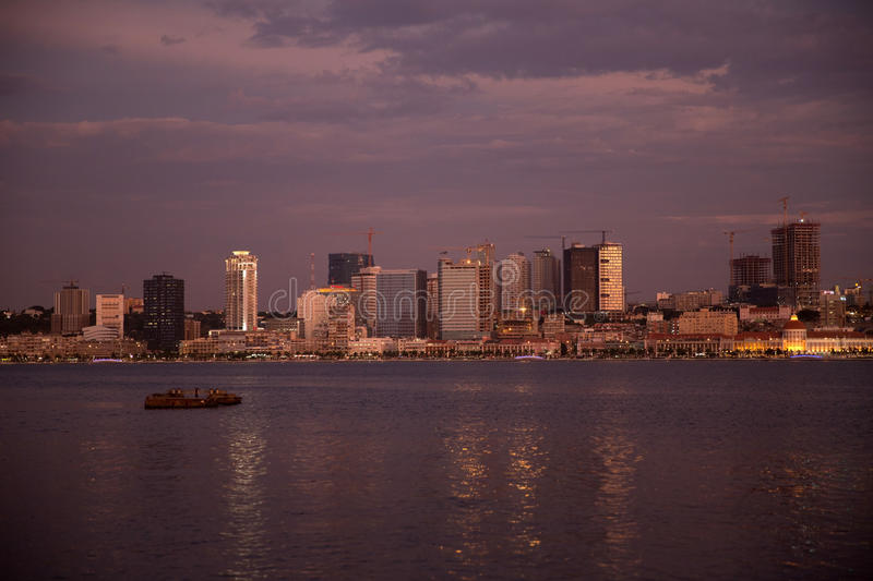 Luanda Bay Skyline by Night, Angola - Cityscape royalty free stock photo