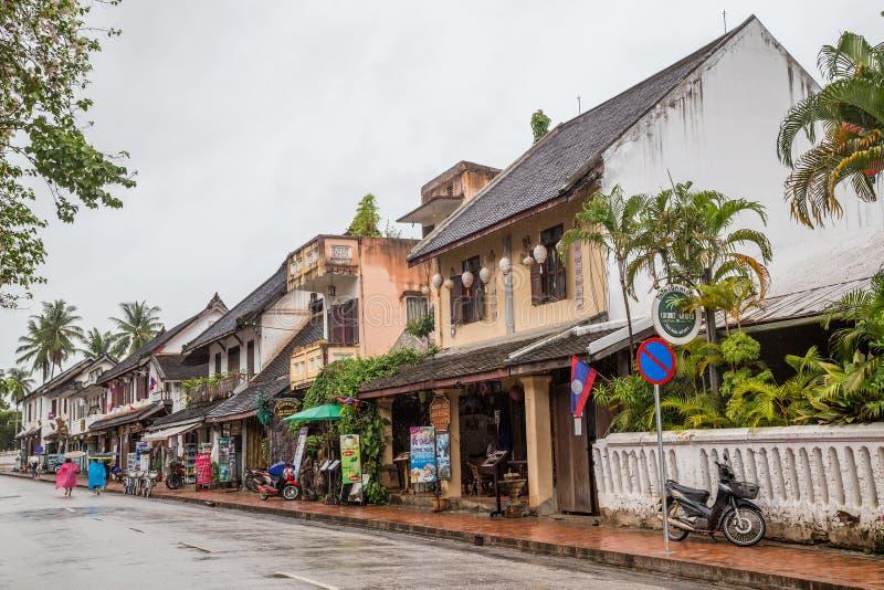 Luang Prabang, Laos - circa agosto 2015: Vie di Luang Prabang, Laos immagini stock libere da diritti