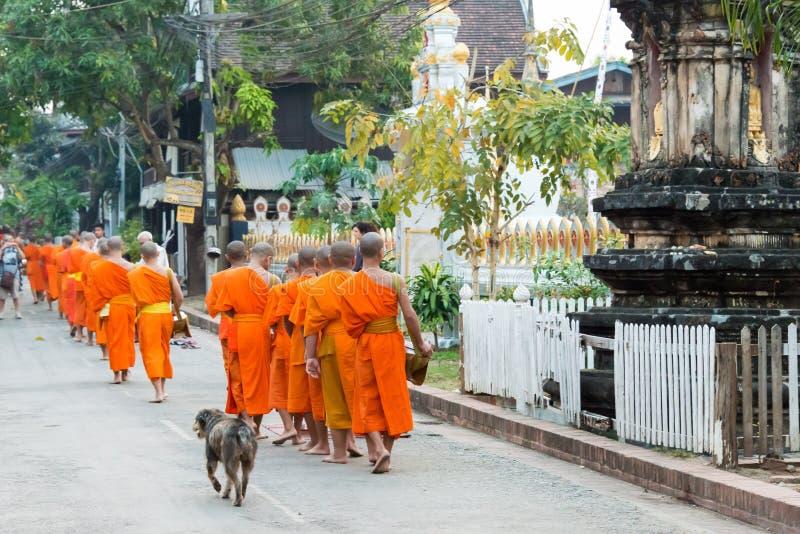 Luang Prabang, Laos - 6 de marzo de 2015: Monjes budistas que recogen el alm imágenes de archivo libres de regalías
