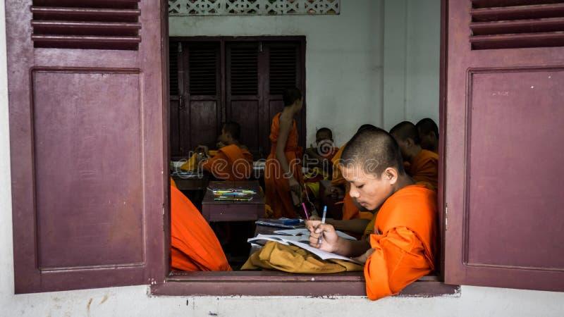 Luang Prabang, Laos - December 3, 2015: Student monks at school stock images