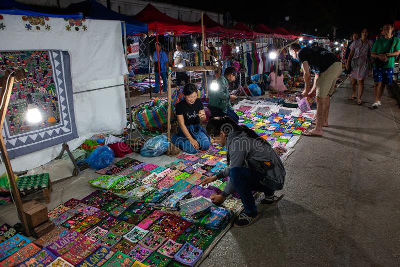 Luang Prabang night market with souvenir stalls. Laos royalty free stock image