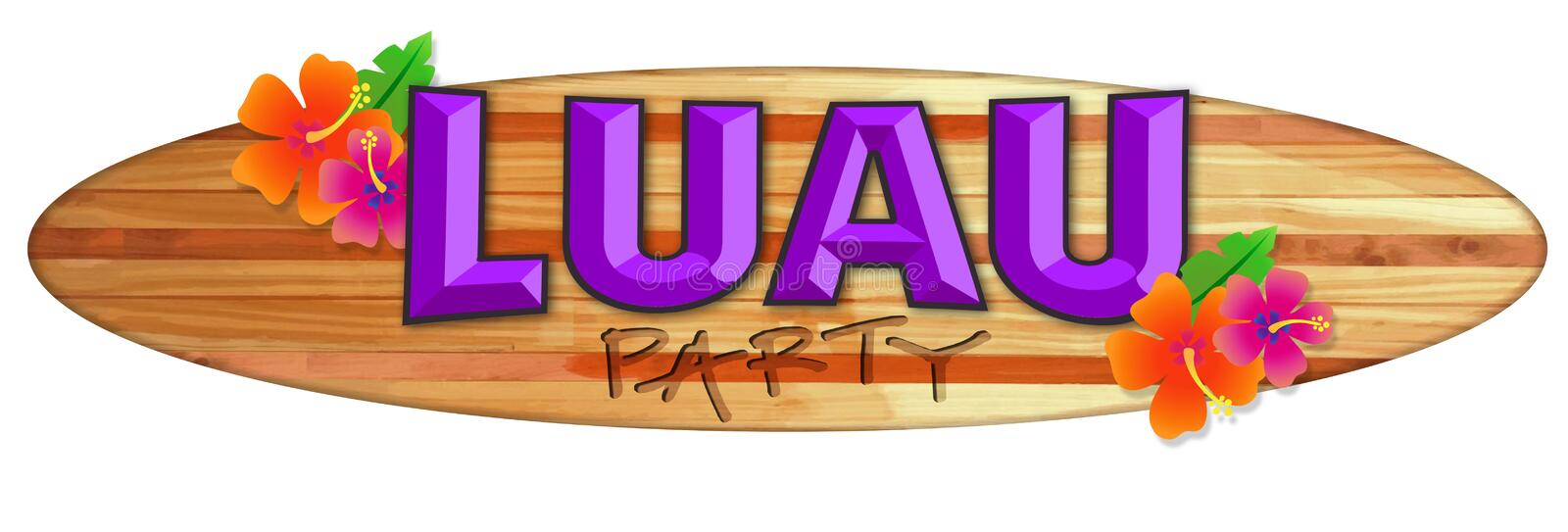 Luau Party Logo Hawaii Surfboard Logo Flowers stock illustration