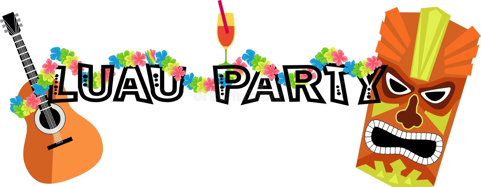 Luau Party Banner royalty free illustration