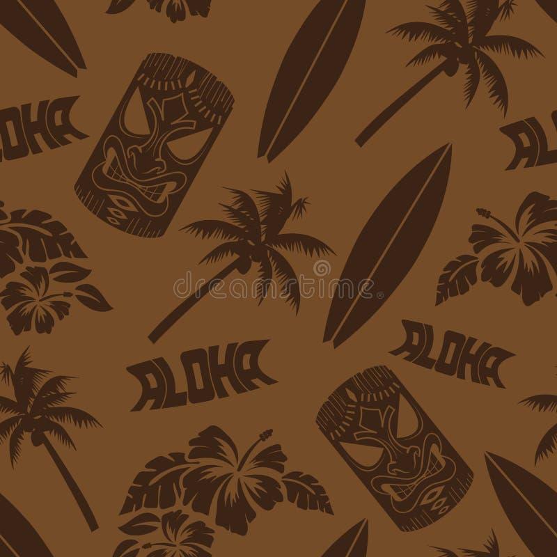 Luau sem emenda Tiki Aloha Surf Pattern ilustração royalty free