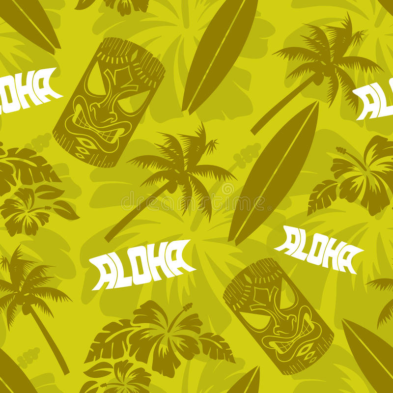 Luau verde sem emenda Tiki Aloha Surf Pattern ilustração stock