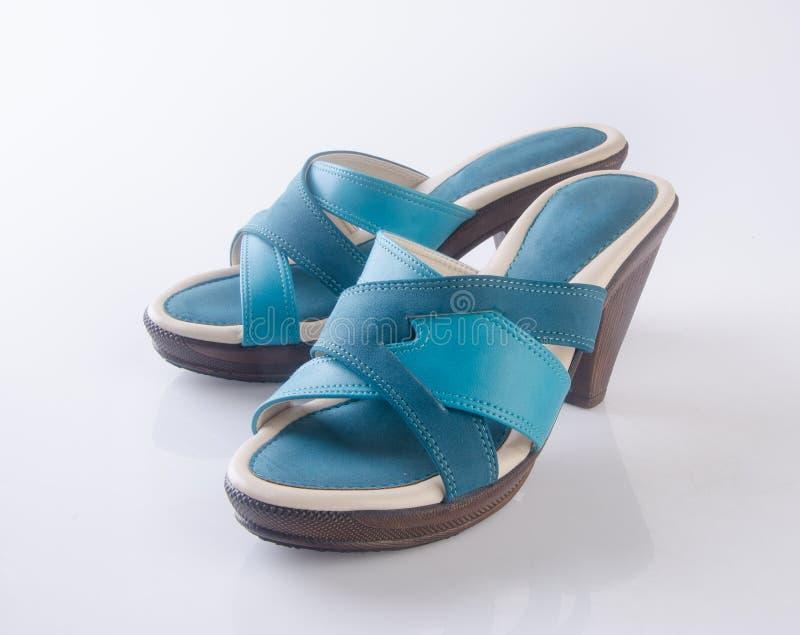 but lub błękitni kolor damy buty na tle zdjęcie stock